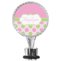Pink & Green Dots Wine Bottle Stopper (Personalized)