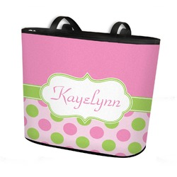 Pink & Green Dots Bucket Tote w/ Genuine Leather Trim (Personalized)