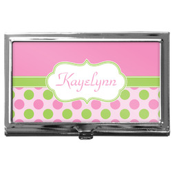 Pink & Green Dots Business Card Case