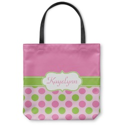 Pink & Green Dots Canvas Tote Bag (Personalized)