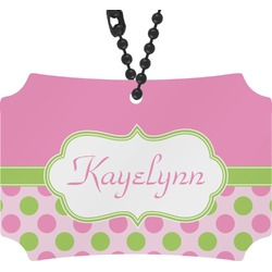 Pink & Green Dots Rear View Mirror Ornament (Personalized)