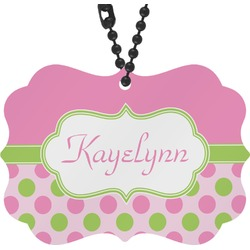 Pink & Green Dots Rear View Mirror Charm (Personalized)