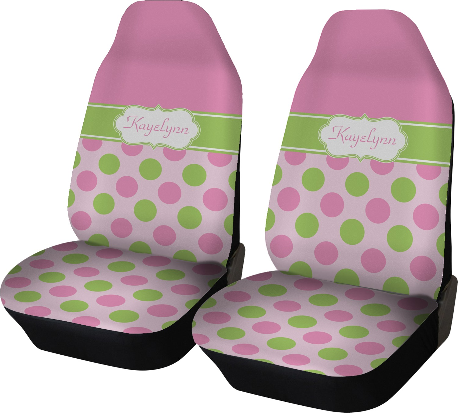 Pink Green Dots Car Seat Covers Set Of Two Personalized