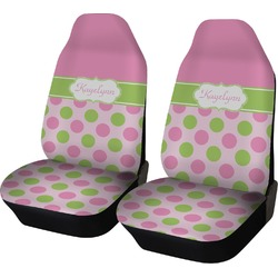 Pink & Green Dots Car Seat Covers (Set of Two) (Personalized)