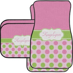 Pink & Green Dots Car Floor Mats Set - 2 Front & 2 Back (Personalized)