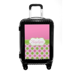 Pink & Green Dots Carry On Hard Shell Suitcase (Personalized)