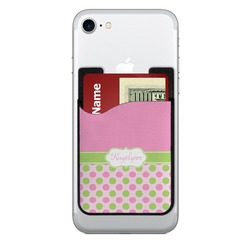 Pink & Green Dots 2-in-1 Cell Phone Credit Card Holder & Screen Cleaner (Personalized)