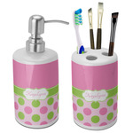 Pink & Green Dots Ceramic Bathroom Accessories Set (Personalized)