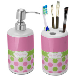 Pink & Green Dots Bathroom Accessories Set (Ceramic) (Personalized)