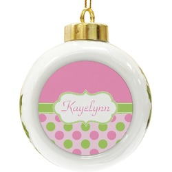 Pink & Green Dots Ceramic Ball Ornament (Personalized)