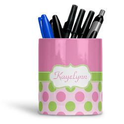 Pink & Green Dots Ceramic Pen Holder