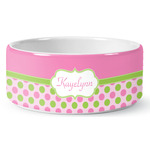 Pink & Green Dots Ceramic Pet Bowl (Personalized)