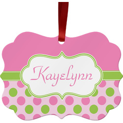 Pink & Green Dots Ornament (Personalized)