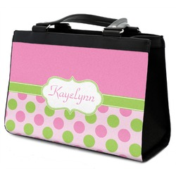 Pink & Green Dots Classic Tote Purse w/ Leather Trim w/ Name or Text