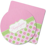 Pink & Green Dots Rubber Backed Coaster (Personalized)