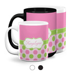 Pink & Green Dots Coffee Mugs (Personalized)
