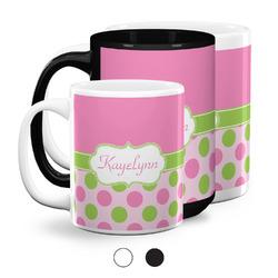 Pink & Green Dots Coffee Mugs (Personalized)