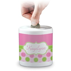 Pink & Green Dots Coin Bank (Personalized)