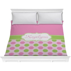 Pink & Green Dots Comforter - King (Personalized)
