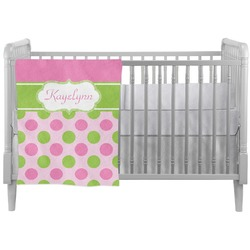 Pink & Green Dots Crib Comforter / Quilt (Personalized)