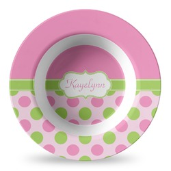 Pink & Green Dots Plastic Bowl - Microwave Safe - Composite Polymer (Personalized)