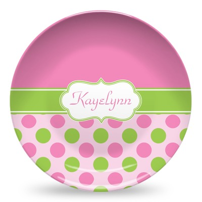 Pink & Green Dots Microwave Safe Plastic Plate - Composite Polymer (Personalized)