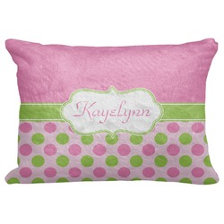 """Pink & Green Dots Decorative Baby Pillowcase - 16""""x12"""" (Personalized)"""