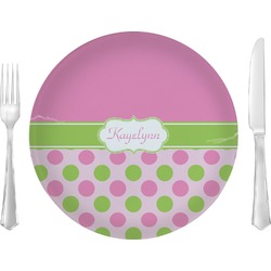Pink & Green Dots Glass Lunch / Dinner Plates 10