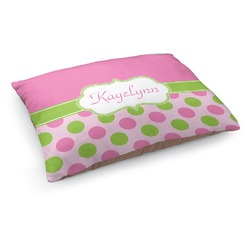 Pink & Green Dots Dog Bed (Personalized)