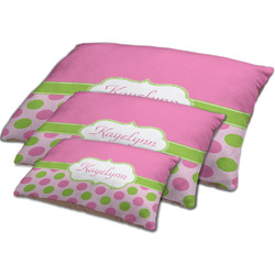 Pink & Green Dots Dog Bed w/ Name or Text