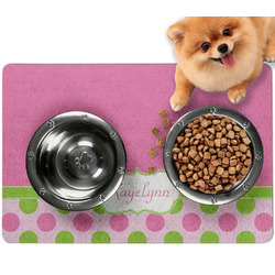 Pink & Green Dots Dog Food Mat - Small w/ Name or Text