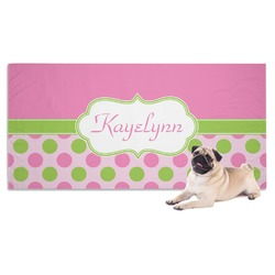 Pink & Green Dots Dog Towel (Personalized)