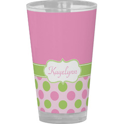 Pink & Green Dots Drinking / Pint Glass (Personalized)