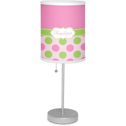 "Pink & Green Dots 7"" Drum Lamp with Shade (Personalized)"