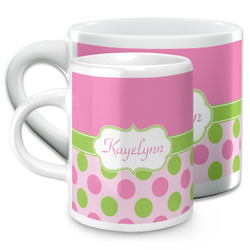 Pink & Green Dots Espresso Cups (Personalized)