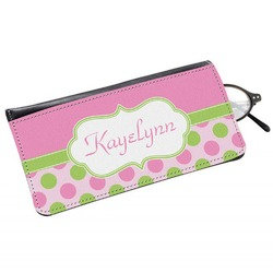 Pink & Green Dots Genuine Leather Eyeglass Case (Personalized)
