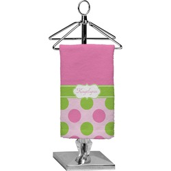 Pink & Green Dots Finger Tip Towel - Full Print (Personalized)