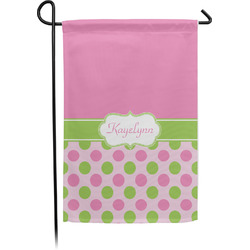 Pink & Green Dots Garden Flag - Single or Double Sided (Personalized)