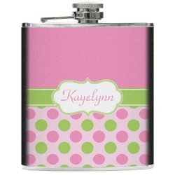 Pink & Green Dots Genuine Leather Flask (Personalized)