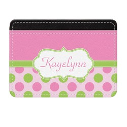 Pink & Green Dots Genuine Leather Front Pocket Wallet (Personalized)