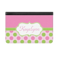 Pink & Green Dots Genuine Leather ID & Card Wallet - Slim Style (Personalized)