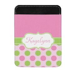 Pink & Green Dots Genuine Leather Money Clip (Personalized)