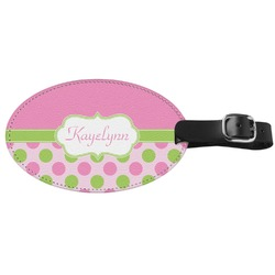 Pink & Green Dots Genuine Leather Oval Luggage Tag (Personalized)
