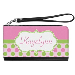 Pink & Green Dots Genuine Leather Smartphone Wrist Wallet (Personalized)