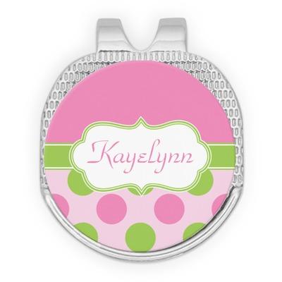 Pink & Green Dots Golf Ball Marker - Hat Clip