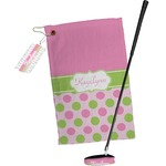 Pink & Green Dots Golf Towel Gift Set (Personalized)