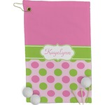 Pink & Green Dots Golf Towel - Full Print (Personalized)