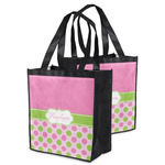 Pink & Green Dots Grocery Bag (Personalized)