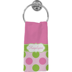 Pink & Green Dots Hand Towel - Full Print (Personalized)
