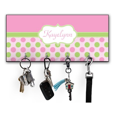 Pink & Green Dots Key Hanger w/ 4 Hooks w/ Name or Text